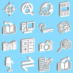 3d white web icons