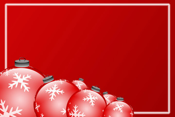 Collection of christmas balls on red background