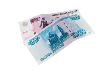 500 and 1000 rubles on white beckground