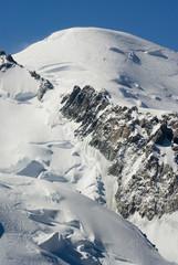 View of Mont Blanc mountain range from Aiguille Du Midi
