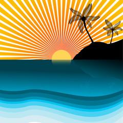 Vector - Paradise island silhouette
