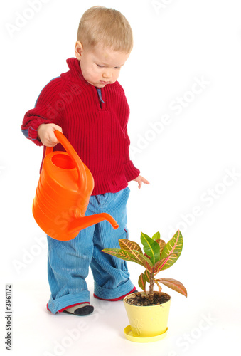 5 years old boy plays with garden toy tools stock photo for Gardening tools for 6 year old