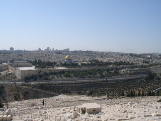 View on temple rock and Jewish cemetery Jerusalem