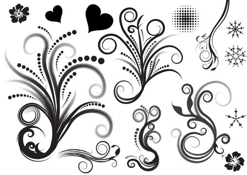 beautiful abstract vector floral design elements
