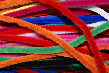 ackground of colored pipecleaners