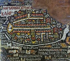 Antique mosaic Jerusalem map