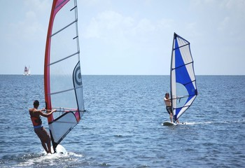Novice Windsurfers on Biscayne Bay