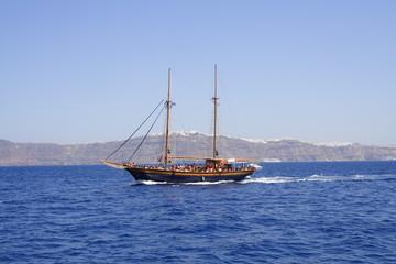 Traditional Greek sailing boat in Aegean Sea