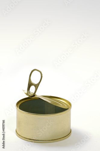 Empty open tuna can