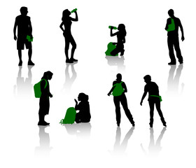 Silhouettes of teenagers. Young men and girls.