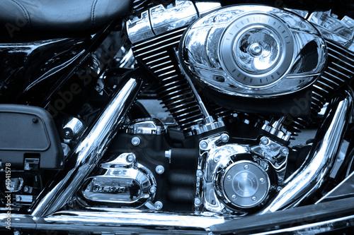 Fototapete Gros plan sur le moteur d'un moto de légende