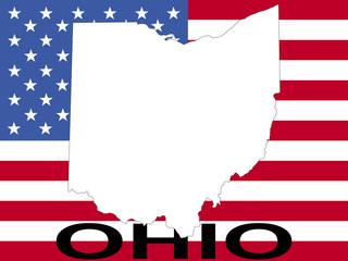 map of Ohio on flag