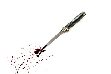 bloody knife isolated on white