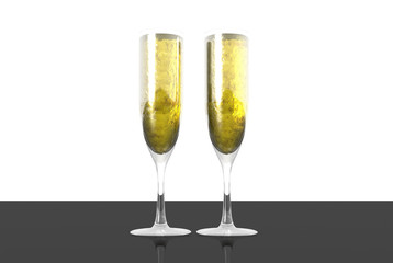 3D render of Two elegant champagne glasses on a dark surface