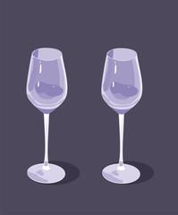 two celebratory wine glasses