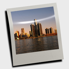 City skyline on polaroid slide