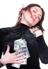 The girl has found money