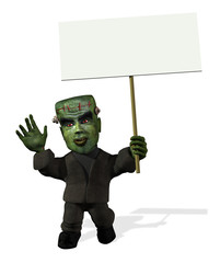 Cartoon Frankenstein with Blank Sign