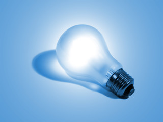 Electric bulb on a blue
