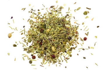 Pile of mixed herbs isolated on white background