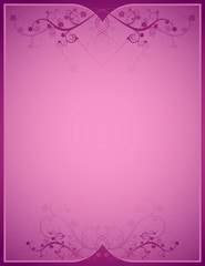 pink background  with lovely squiggles with leaves