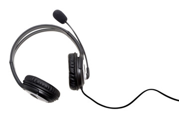 black headset isolated in white background