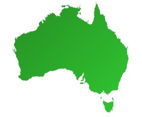 detailed green gradient map of Australia