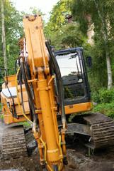 road construction tractor excavator shovel grader