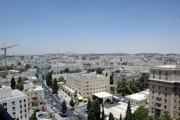 Aerial view of Jerusalem with building cranes