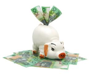Piggy Bank with Australian Money