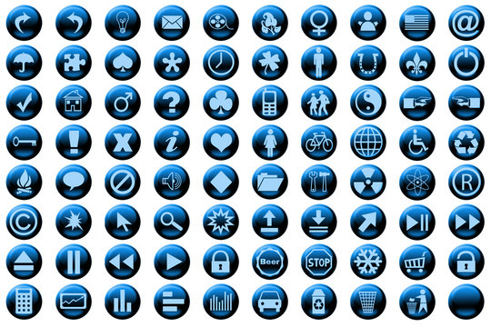 web icon set blue