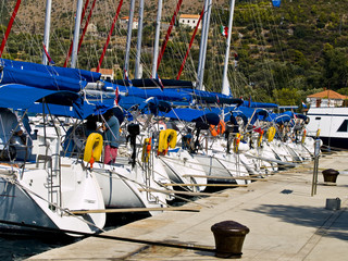Sailboats in the marine near Dubrovnik. Ready for race.