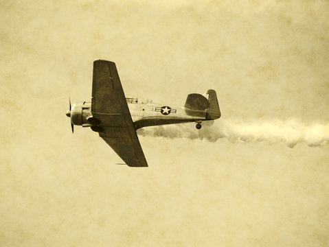 Aged snapshot of WW II turboprop aircraft in flight
