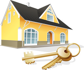 House keys, real estate, realty, security. Vector illustration