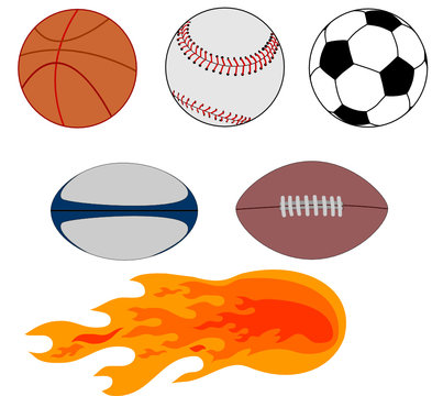 Rugby, basketball, soccer, basebal, football  and flames