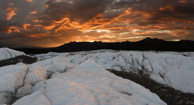 Matanuska Glacier sunset, panoramic