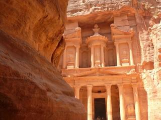 Treasury, Al-Khazneh, front facade in the rock, Petra, Jordan