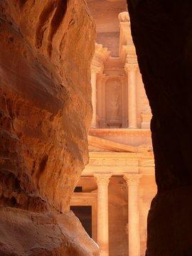 Treasury, Al-Khazneh, view from Siq, Petra, Jordan