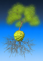 3d tree on lonely small planet with roots
