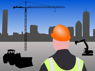 Boston building site with worker and equipment