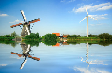 Acrylic Prints Mills old and new wind energy