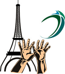 Rugby hands catching the ball with eiffel tower