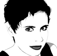 Woman with short hair: Vector