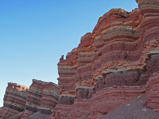 Colourful strata in natural rock formations