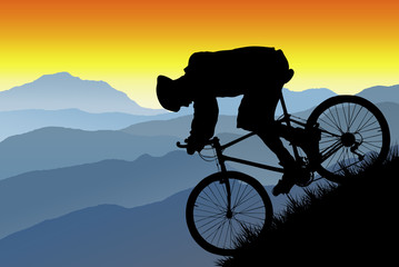mountain bike silhouette vista