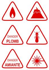 Collection de panneaux de danger rouge 2
