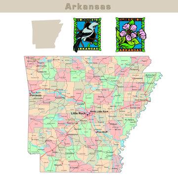 USA states series: Arkansas. Political map