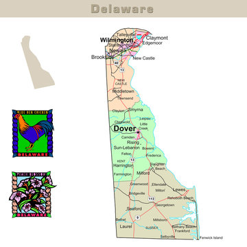 USA states series: Delaware. Political map