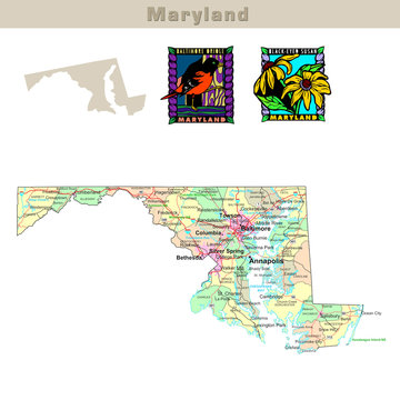 USA states series: Maryland. Political map with counties