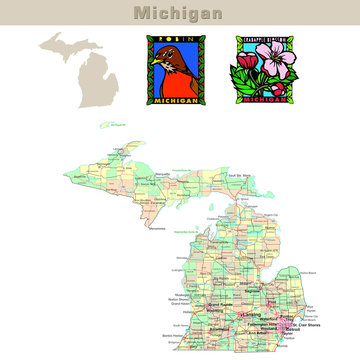 USA states series: Michigan. Political map with counties